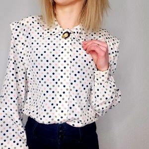 Vintage Polka Dot Pink Green Button Up Blouse Top